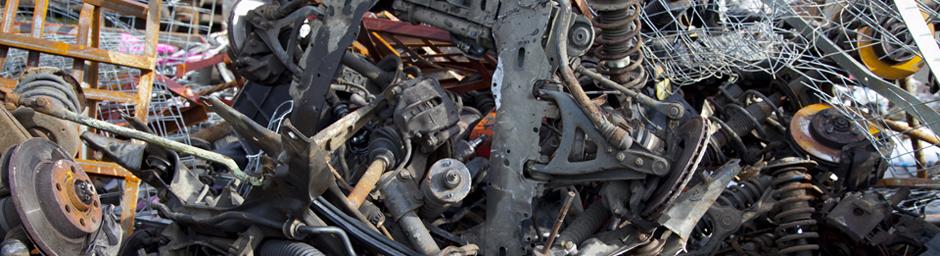 A pile of scrap car parts