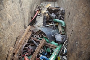 Scrap ferrous metal in trailer